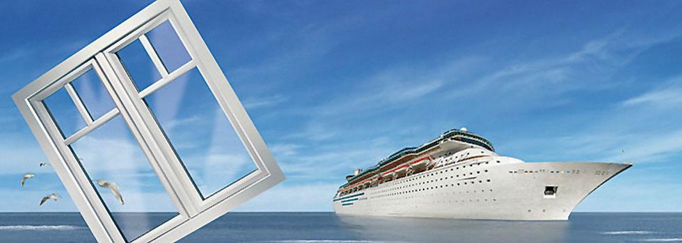 Fenster von Gayko - Abbildung Schiffsdampfer Anzeigenmotiv von Gayko