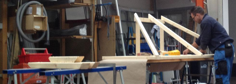 Bau eines Vordaches, Vorbereitung in der Werkstatt