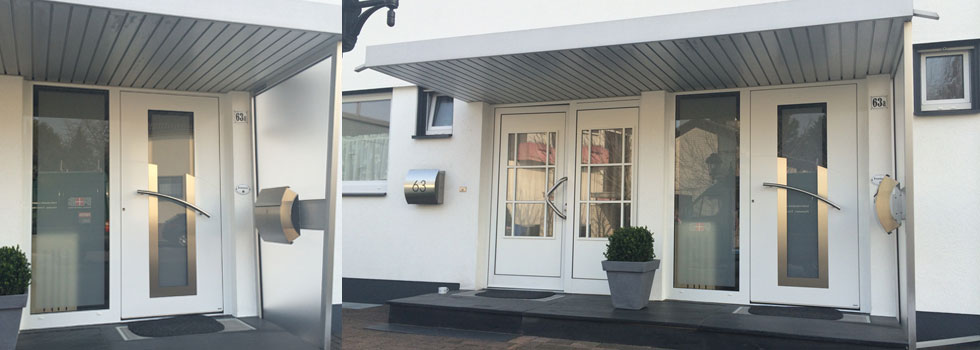 Referenzbild Haustüren, weisse Haustüren, modern mit Edelstahlgriff und passenden Briefkasten