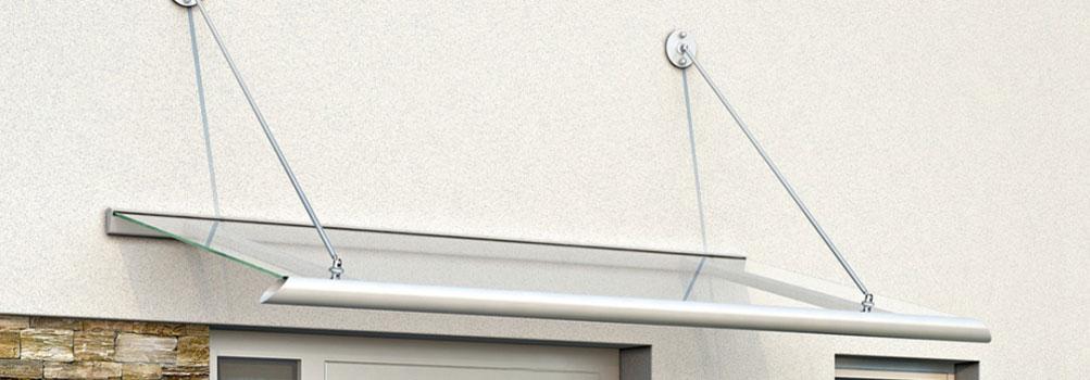 Ariane Vordach mit Glas, Edelstahl und Aluminium
