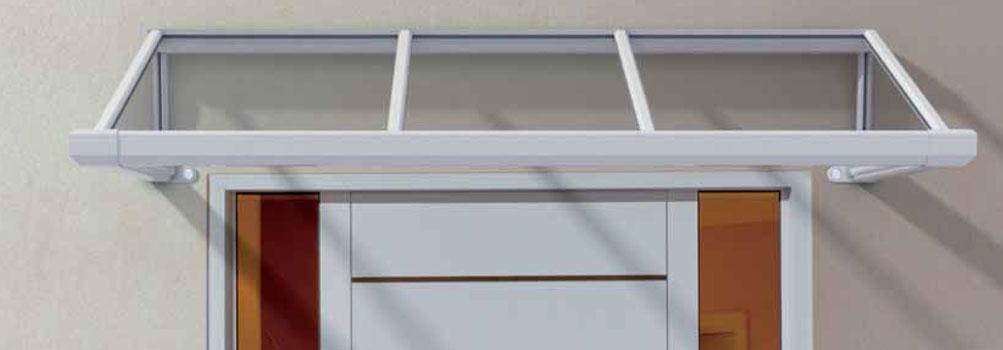 Ariane Vordach aus Glas, Edelstahl und Aluminium